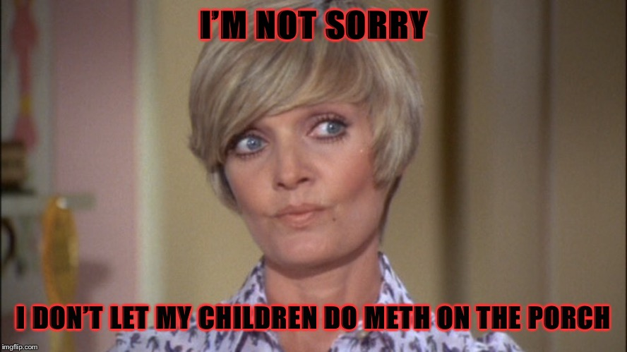 Parent your children, drugs are bad  | I'M NOT SORRY I DON'T LET MY CHILDREN DO METH ON THE PORCH | image tagged in no to drugs,first world problems,parent your children,brady bunch mom,meth,sorry not sorry | made w/ Imgflip meme maker