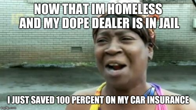 Aint Nobody Got Time For That Meme | NOW THAT IM HOMELESS AND MY DOPE DEALER IS IN JAIL I JUST SAVED 100 PERCENT ON MY CAR INSURANCE | image tagged in memes,aint nobody got time for that | made w/ Imgflip meme maker
