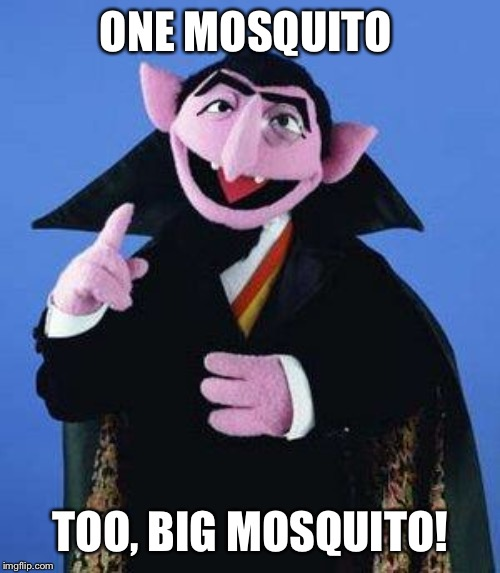 The Count | ONE MOSQUITO TOO, BIG MOSQUITO! | image tagged in the count | made w/ Imgflip meme maker
