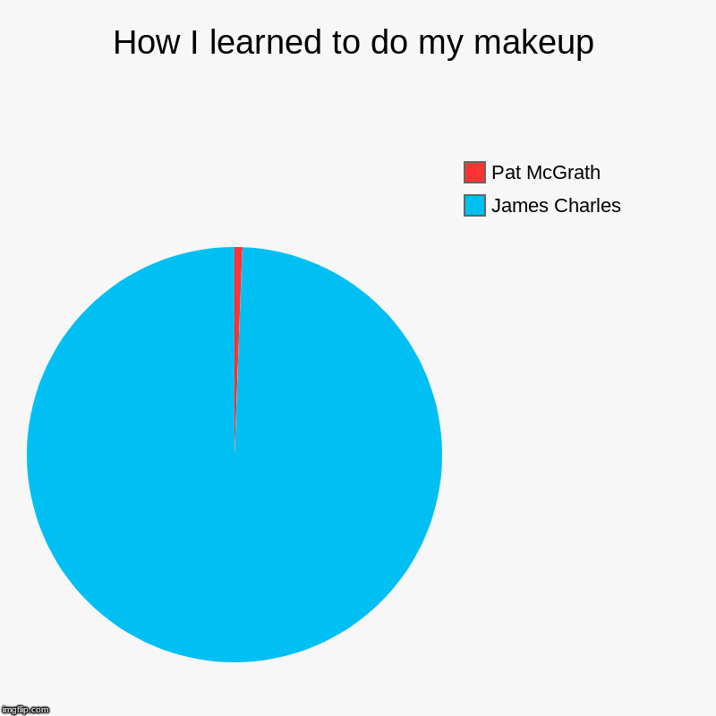 How I learned to do my makeup | James Charles, Pat McGrath | image tagged in charts,pie charts | made w/ Imgflip chart maker