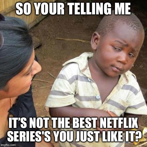 Third World Skeptical Kid Meme | SO YOUR TELLING ME IT'S NOT THE BEST NETFLIX SERIES'S YOU JUST LIKE IT? | image tagged in memes,third world skeptical kid | made w/ Imgflip meme maker