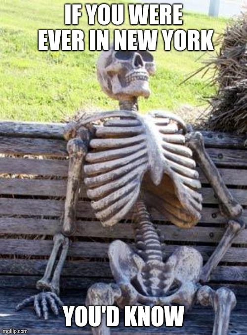 Waiting Skeleton Meme | IF YOU WERE EVER IN NEW YORK YOU'D KNOW | image tagged in memes,waiting skeleton | made w/ Imgflip meme maker