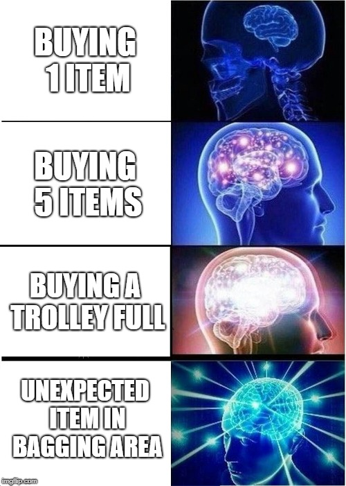 Expanding Brain Meme | BUYING 1 ITEM BUYING 5 ITEMS BUYING A TROLLEY FULL UNEXPECTED ITEM IN BAGGING AREA | image tagged in memes,expanding brain | made w/ Imgflip meme maker
