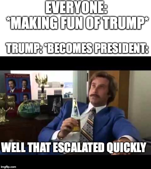 Well That Escalated Quickly | EVERYONE: *MAKING FUN OF TRUMP* TRUMP: *BECOMES PRESIDENT: WELL THAT ESCALATED QUICKLY | image tagged in memes,well that escalated quickly | made w/ Imgflip meme maker