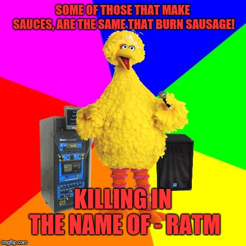 Wrong lyrics karaoke big bird | SOME OF THOSE THAT MAKE SAUCES, ARE THE SAME THAT BURN SAUSAGE! KILLING IN THE NAME OF - RATM | image tagged in wrong lyrics karaoke big bird | made w/ Imgflip meme maker