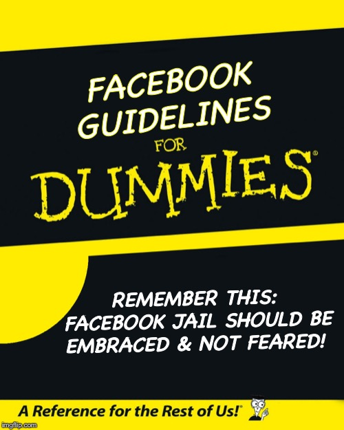 For Dummies |  FACEBOOK GUIDELINES; REMEMBER THIS: FACEBOOK JAIL SHOULD BE EMBRACED & NOT FEARED! | image tagged in for dummies | made w/ Imgflip meme maker