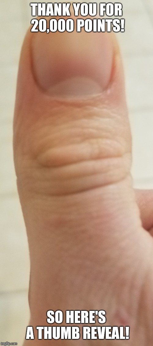 Thank you to all that upvoted and liked my memes! Now I wonder what age do you all think I am, judging by just my thumb? | THANK YOU FOR 20,000 POINTS! SO HERE'S A THUMB REVEAL! | image tagged in memes,thumbs up,20000 points | made w/ Imgflip meme maker