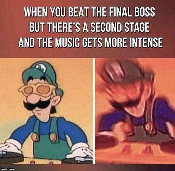 The Second Stage's Music | . | image tagged in second stage,final boss,music,gaming,motion blur,luigi | made w/ Imgflip meme maker