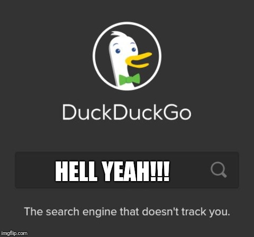 DuckDuckGo | HELL YEAH!!! | image tagged in duckduckgo | made w/ Imgflip meme maker