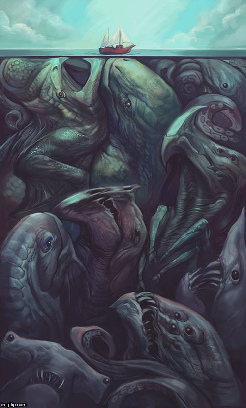 Beneath The Surface | image tagged in sea monsters,the sea,ship,creepy,art | made w/ Imgflip meme maker