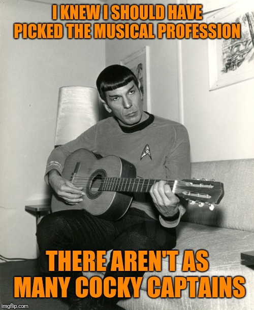 Spock guitar  | I KNEW I SHOULD HAVE PICKED THE MUSICAL PROFESSION THERE AREN'T AS MANY COCKY CAPTAINS | image tagged in spock guitar | made w/ Imgflip meme maker