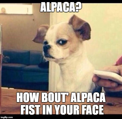 Mad dog | ALPACA? HOW BOUT' ALPACA FIST IN YOUR FACE | image tagged in mad dog | made w/ Imgflip meme maker