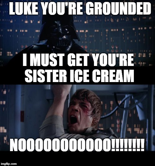 Star Wars No Meme | LUKE YOU'RE GROUNDED NOOOOOOOOOOO!!!!!!!! I MUST GET YOU'RE SISTER ICE CREAM | image tagged in memes,star wars no | made w/ Imgflip meme maker