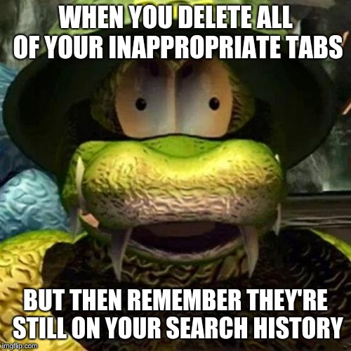 WHEN YOU DELETE ALL OF YOUR INAPPROPRIATE TABS BUT THEN REMEMBER THEY'RE STILL ON YOUR SEARCH HISTORY | image tagged in general klump | made w/ Imgflip meme maker