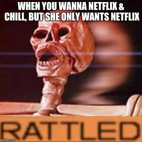 WHEN YOU WANNA NETFLIX & CHILL, BUT SHE ONLY WANTS NETFLIX | image tagged in rattled | made w/ Imgflip meme maker