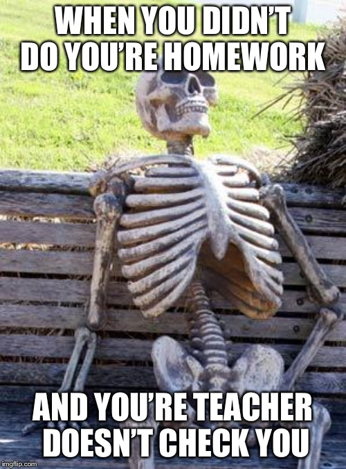 Waiting Skeleton Meme | WHEN YOU DIDN'T DO YOU'RE HOMEWORK AND YOU'RE TEACHER DOESN'T CHECK YOU | image tagged in memes,waiting skeleton | made w/ Imgflip meme maker