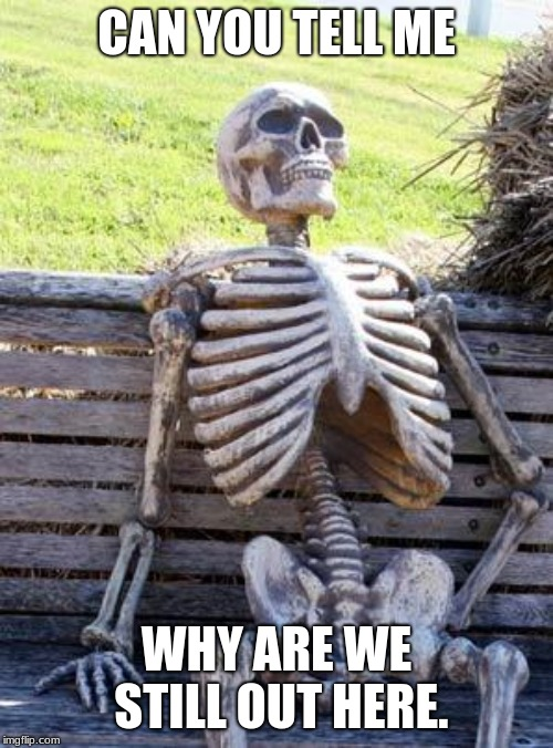 Waiting Skeleton Meme | CAN YOU TELL ME WHY ARE WE STILL OUT HERE. | image tagged in memes,waiting skeleton | made w/ Imgflip meme maker