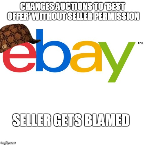 CHANGES AUCTIONS TO 'BEST OFFER' WITHOUT SELLER PERMISSION SELLER GETS BLAMED | image tagged in scumbag ebay,AdviceAnimals | made w/ Imgflip meme maker