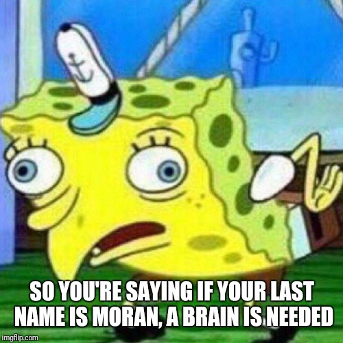 triggerpaul | SO YOU'RE SAYING IF YOUR LAST NAME IS MORAN, A BRAIN IS NEEDED | image tagged in triggerpaul | made w/ Imgflip meme maker