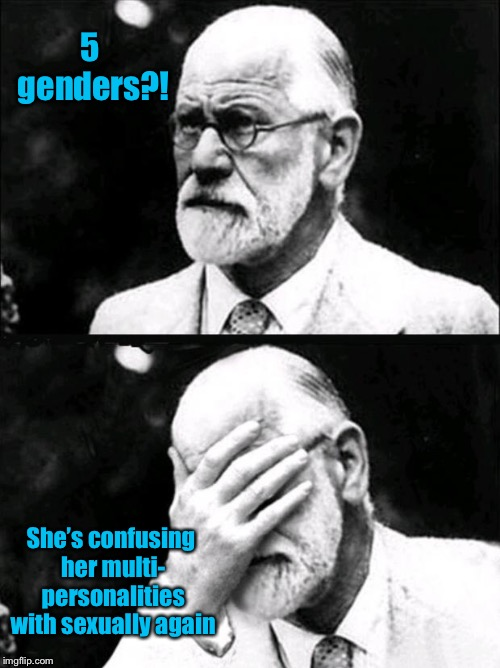 Freud | 5 genders?! She's confusing her multi- personalities with sexually again | image tagged in freud | made w/ Imgflip meme maker