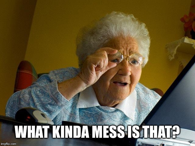 Grandma Finds The Internet Meme | WHAT KINDA MESS IS THAT? | image tagged in memes,grandma finds the internet | made w/ Imgflip meme maker