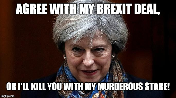 AGREE WITH MY BREXIT DEAL, OR I'LL KILL YOU WITH MY MURDEROUS STARE! | image tagged in theresa may | made w/ Imgflip meme maker