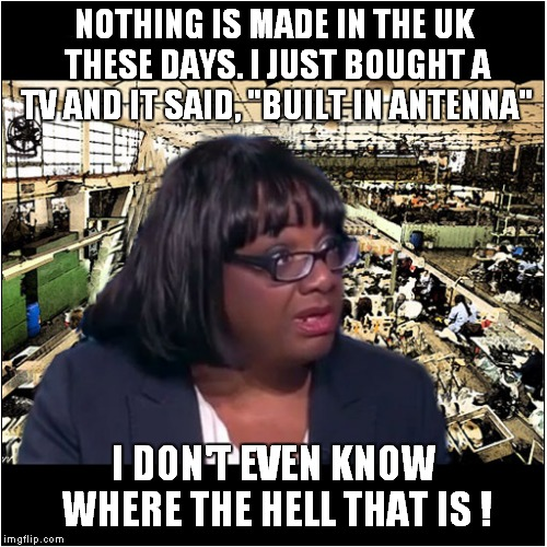 "Diane Abbott - What a Stella Politician ! | NOTHING IS MADE IN THE UK THESE DAYS. I JUST BOUGHT A TV AND IT SAID, ""BUILT IN ANTENNA"" I DON'T EVEN KNOW WHERE THE HELL THAT IS ! 
