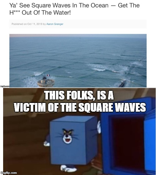 terrible tragedy | THIS FOLKS, IS A VICTIM OF THE SQUARE WAVES | image tagged in cube,tom and jerry,square | made w/ Imgflip meme maker