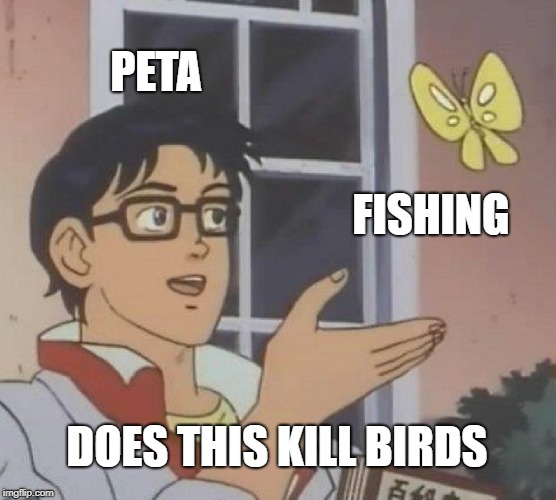Is This A Pigeon Meme | PETA FISHING DOES THIS KILL BIRDS | image tagged in memes,is this a pigeon | made w/ Imgflip meme maker