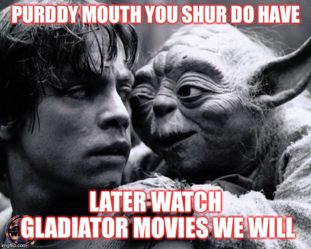 Luke's lost innocence  | PURDDY MOUTH YOU SHUR DO HAVE LATER WATCH GLADIATOR MOVIES WE WILL | image tagged in yoda  luke | made w/ Imgflip meme maker