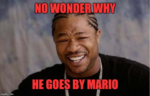 Yo Dawg Heard You Meme | NO WONDER WHY HE GOES BY MARIO | image tagged in memes,yo dawg heard you | made w/ Imgflip meme maker