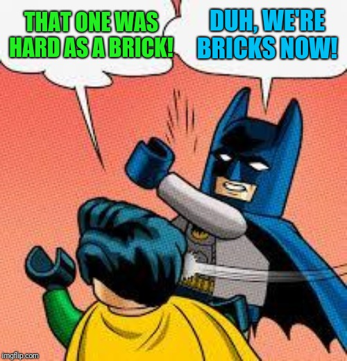 lego batman slapping robin | THAT ONE WAS HARD AS A BRICK! DUH, WE'RE BRICKS NOW! | image tagged in lego batman slapping robin | made w/ Imgflip meme maker