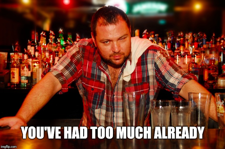 annoyed bartender | YOU'VE HAD TOO MUCH ALREADY | image tagged in annoyed bartender | made w/ Imgflip meme maker