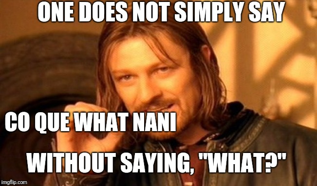"One Does Not Simply Meme | ONE DOES NOT SIMPLY SAY CO QUE WHAT NANI WITHOUT SAYING, ""WHAT?"" 