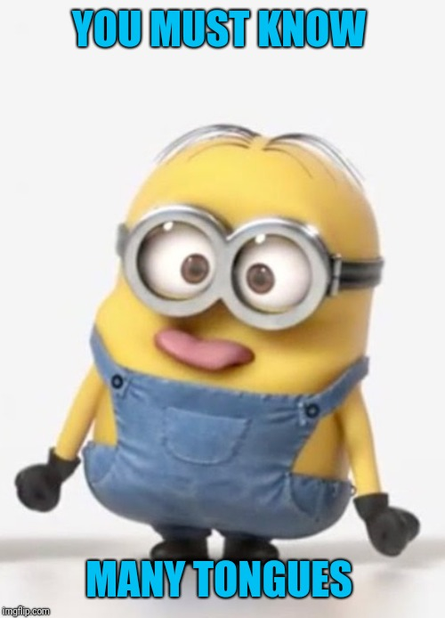 minion sticking tongue out | YOU MUST KNOW MANY TONGUES | image tagged in minion sticking tongue out | made w/ Imgflip meme maker