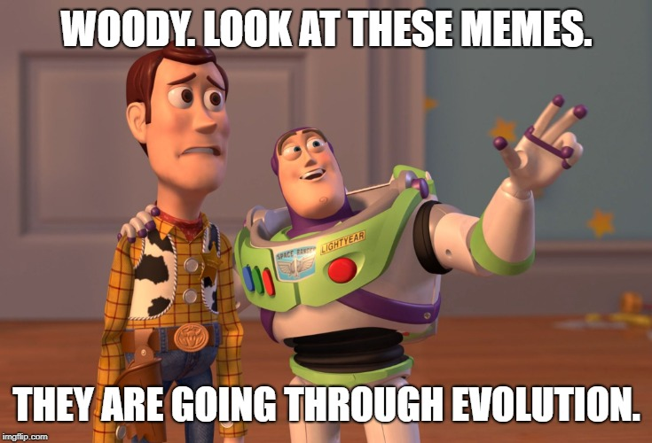 Going through Evolution | WOODY. LOOK AT THESE MEMES. THEY ARE GOING THROUGH EVOLUTION. | image tagged in memes,x x everywhere | made w/ Imgflip meme maker