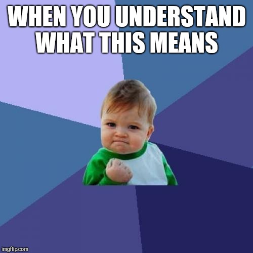 Success Kid Meme | WHEN YOU UNDERSTAND WHAT THIS MEANS | image tagged in memes,success kid | made w/ Imgflip meme maker