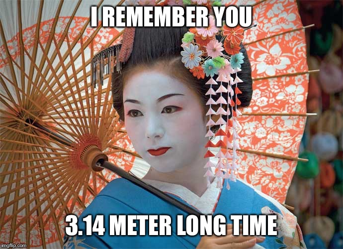 Geisha | I REMEMBER YOU 3.14 METER LONG TIME | image tagged in geisha | made w/ Imgflip meme maker