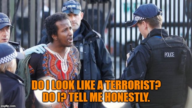When no answer is the right answer |  DO I LOOK LIKE A TERRORIST? DO I? TELL ME HONESTLY. | image tagged in police,terrorism | made w/ Imgflip meme maker