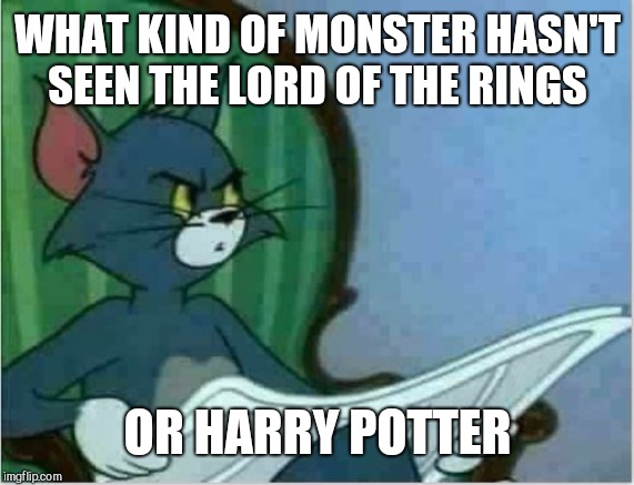 Interrupting Tom's Read | WHAT KIND OF MONSTER HASN'T SEEN THE LORD OF THE RINGS OR HARRY POTTER | image tagged in interrupting tom's read | made w/ Imgflip meme maker