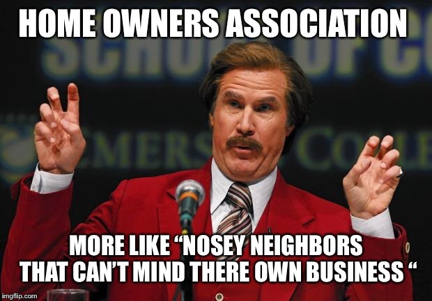 "HOME OWNERS ASSOCIATION MORE LIKE ""NOSEY NEIGHBORS THAT CAN'T MIND THERE OWN BUSINESS "" 
