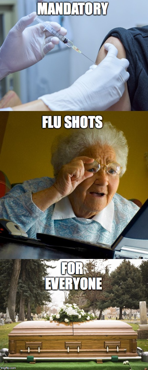 Better not get sick, Nanna | MANDATORY FLU SHOTS FOR EVERYONE | image tagged in antivax,flu shot | made w/ Imgflip meme maker
