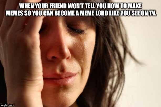 First World Problems Meme | WHEN YOUR FRIEND WON'T TELL YOU HOW TO MAKE MEMES SO YOU CAN BECOME A MEME LORD LIKE YOU SEE ON TV. | image tagged in memes,first world problems | made w/ Imgflip meme maker