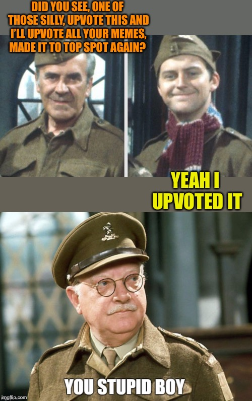 "More fool me, the meme even said ""try"" to upvote all your memes in return. Never again  