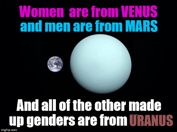 Up Uranus | Women  are from VENUS and men are from MARS And all of the other made up genders are from Uranus URANUS | image tagged in lgbtq,uranus,genders | made w/ Imgflip meme maker