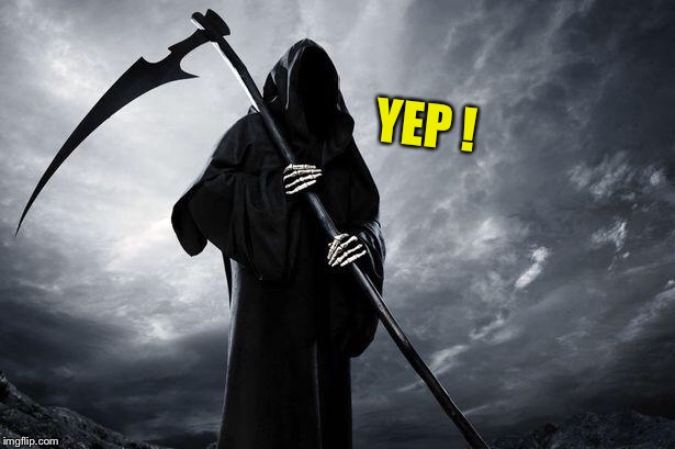Death | YEP ! | image tagged in death | made w/ Imgflip meme maker