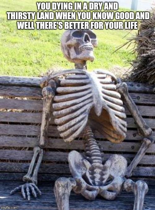 Waiting Skeleton Meme | YOU DYING IN A DRY AND THIRSTY LAND WHEN YOU KNOW GOOD AND WELL THERE'S BETTER FOR YOUR LIFE | image tagged in memes,waiting skeleton | made w/ Imgflip meme maker