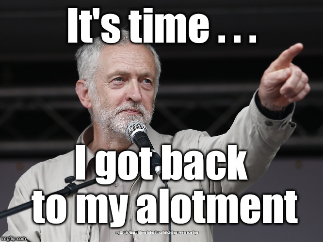 Corbyn alotment | It's time . . . I got back to my alotment #gtto #jc4pm #labourisdead #cultofcorbyn #wearecorbyn | image tagged in wearecorbyn,labourisdead,gtto jc4pm,cultofcorbyn,funny,communist socialist | made w/ Imgflip meme maker