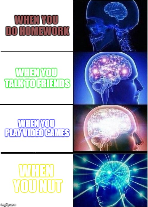 every day | WHEN YOU DO HOMEWORK WHEN YOU TALK TO FRIENDS WHEN YOU PLAY VIDEO GAMES WHEN YOU NUT | image tagged in memes,expanding brain,fortnite,fortnite meme,roblox,relatable | made w/ Imgflip meme maker