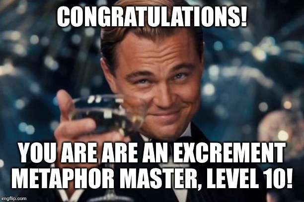 CONGRATULATIONS! YOU ARE ARE AN EXCREMENT METAPHOR MASTER, LEVEL 10! | image tagged in memes,leonardo dicaprio cheers | made w/ Imgflip meme maker